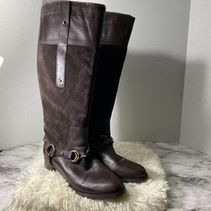 Etienne Aigner leather tall riding boot zip back